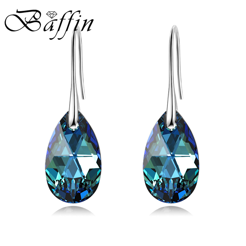 BAFFIN Korean Pear-shaped Drop Earrings For Women Genuine Crystals From Swarovski Silver Color Big Pendant Pendientes 2019 Gift