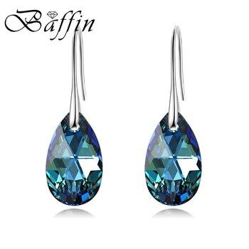 BAFFIN Water Drop kolczyki moda damska oryginalne kryształy Swarovskiego srebrny kolor wisiorek Pendientes 2018 dzień matki prezent