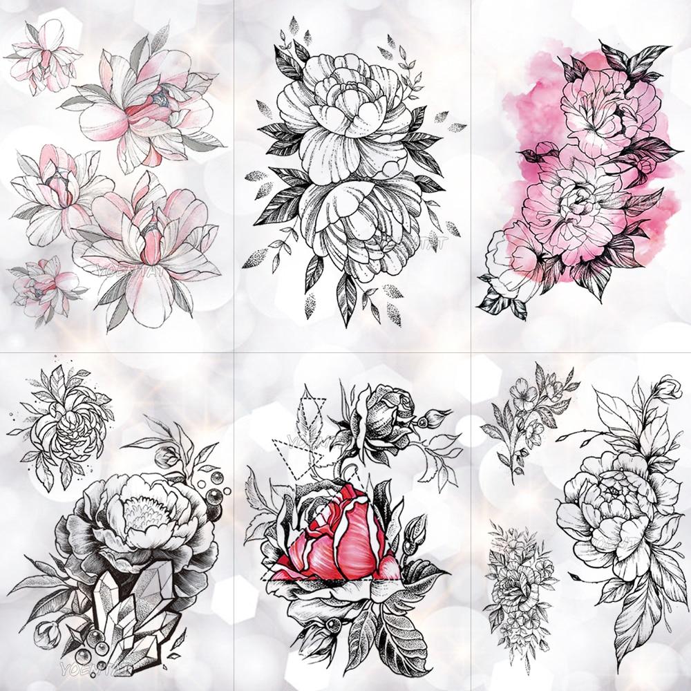 Sketch Flower Blossom Peony Rose Waterproof Temporary Tattoo Sticker Black Tattoos Body Art Arm Hand Girl Women Fake Tatoo
