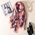 2017 мода классический значок Печати полноценно Шелковый Шарф люксовый бренд Большой размер Платки шарф женщины Длинный Мягкий пончо и накидки