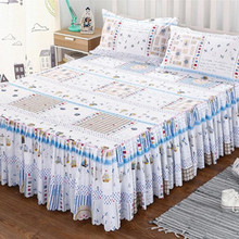 AsyPets Floral Fitted Sheet Cover Graceful Bedspread Laced Fitted Sheet Bed Cover Skirt Wedding Housewarming Gift