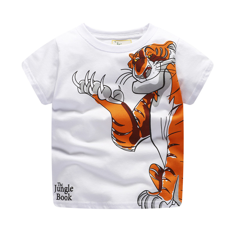New style baby boys cartoon t shirt kids short sleeve summer t shirt with printed a strong tiger top quality jumping meters 3d cartoon figure printed round neck slimming short sleeve men s t shirt