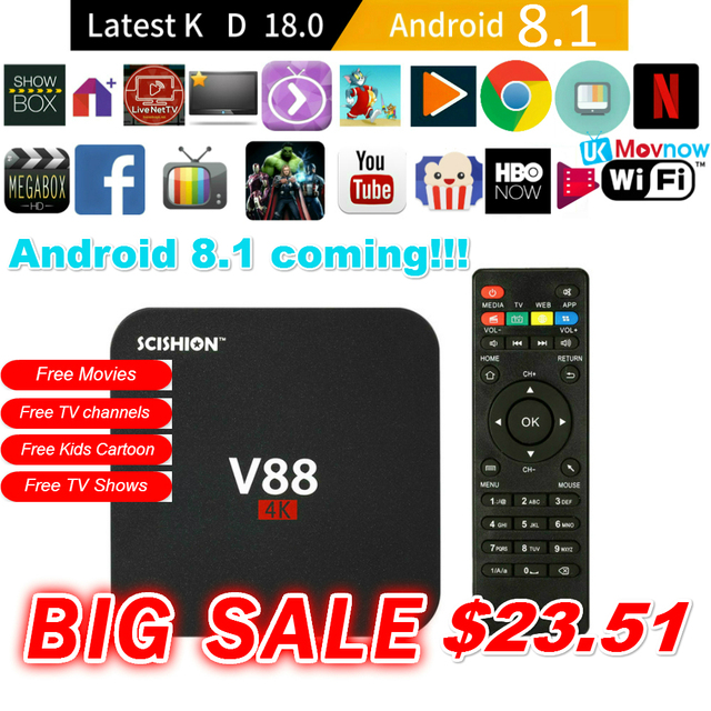 US $23 99 50% OFF|SCISHION V88 Android TV Box Latest KD 18 0 Android 8 1 OS  1GB RAM 8GB RK3229 Quad Core 1080P WiFi HDMI Smart TV BOX Media Player-in