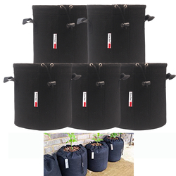 Growsun 5 bags Aeration Fabric Grow pots With Sturdy Handle,Shrink String for Better Protection of Plant