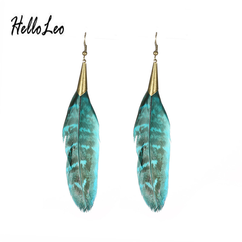 Womens Sexy blue & brown Vintage Hollow Wheel Feather Pendant Eardrop Dangle Earrings Jewelry for gifts free shipping