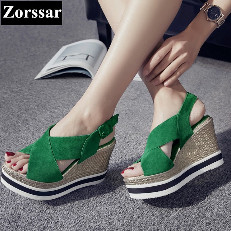 Summer shoes Women Casual Platform wedges sandals open toe woman creeper shoes 2017 Fashion Genuine leather womens heels pumps 2017 gladiator summer shoes woman platform sandals women flats soft leather casual open toe wedges sandals women shoes r18