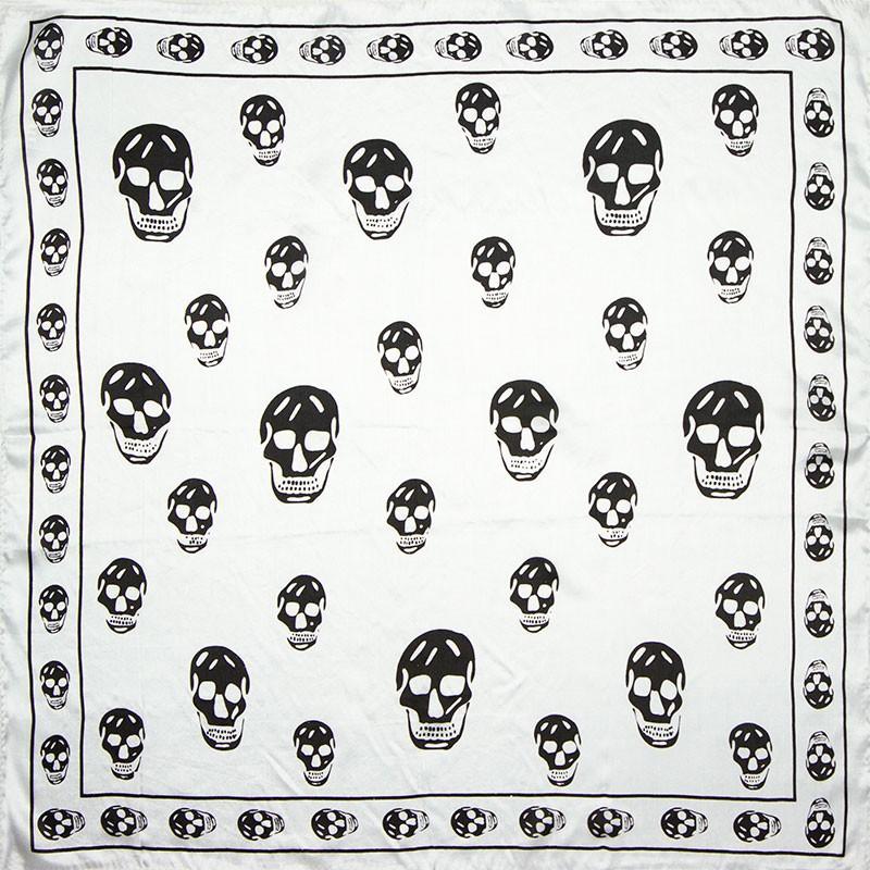 Silky Skull White Neckerchief | Bandana Scarves