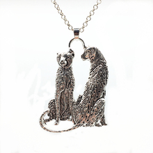 1pc Creative Lover Cheetah Design Vintage Silver Alloy Fashion Charms Long Sweater Chain Trendy Pendant Necklace Jewelry Gift