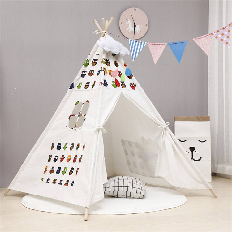 Children Portable Folding Outdoor Castle Triangle Tents Large Unbleached Canvas Original Teepee Kids Indian Play Tent NO MAT