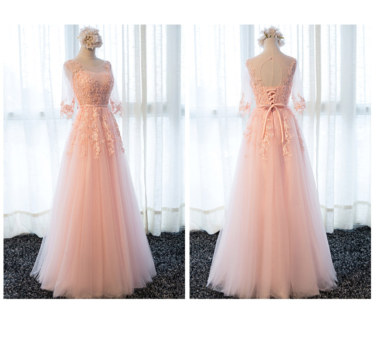 Gray Prom Dresses 2019 Pink Lace Appliques Pearl Belt Tulle A Line Three Quarter Sleeves Long Floor Length Evening Gowns Formal