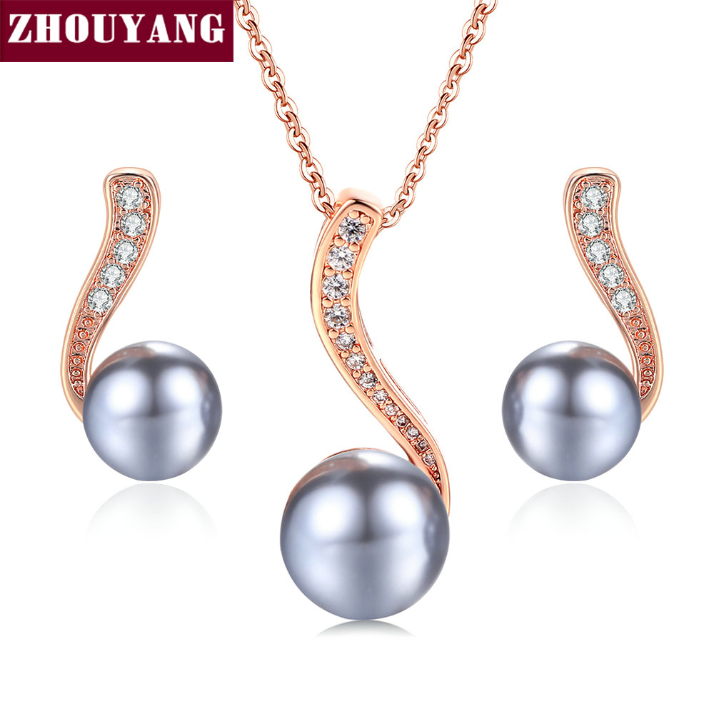 ZHOUYANG ZYS277 Black Imitation Pearl Rose Gold Color Jewelry Necklace Earring Set Rhinestone Made with Austrian Crystals rhinestone rose floral necklace