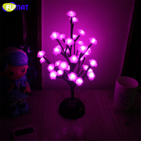 FUMAT Rose Tree Night Lights Novelty Blossom Tree Lamp Luminarias LED Home Decoration Indoor Lighting Pink/White Night Lamps