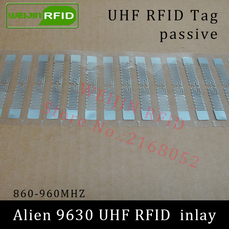 UHF RFID tag Alien 9630 dry inlay 915mhz 900mhz 868mhz 860-960MHZ Higgs3 EPC C1G2 ISO18000-6C smart card passive RFID tags label 1000pcs long range rfid plastic seal tag alien h3 used for waste bin management and gas jar management