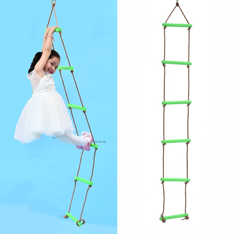 6 Rungs PE Rope Ladder Children Climbing Rope Kids Sport Rope Swing Safe Fitness Toys Equipment Indoor Outdoor Garden New