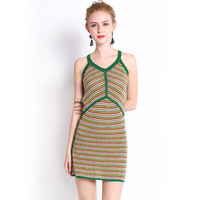 Italian Style Knitted High end Quality 2018 Summer New Slim Fit Fashion Strap Multi color Knitted Dress Women's Wear