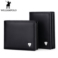 WilliamPOLO Luxury Brand Men Wallet Genuine Leather Short Purse Vertical Horizontal Style Wallet For Man 2018 Fashion Male Gift