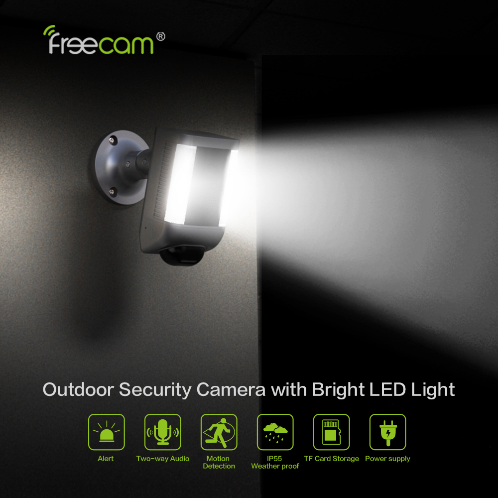 Freecam Floodlight Camera Spotlight Home Security Camera Motion Detection, Two-Way Talk With Siren Alarm And Cloud Service L860B