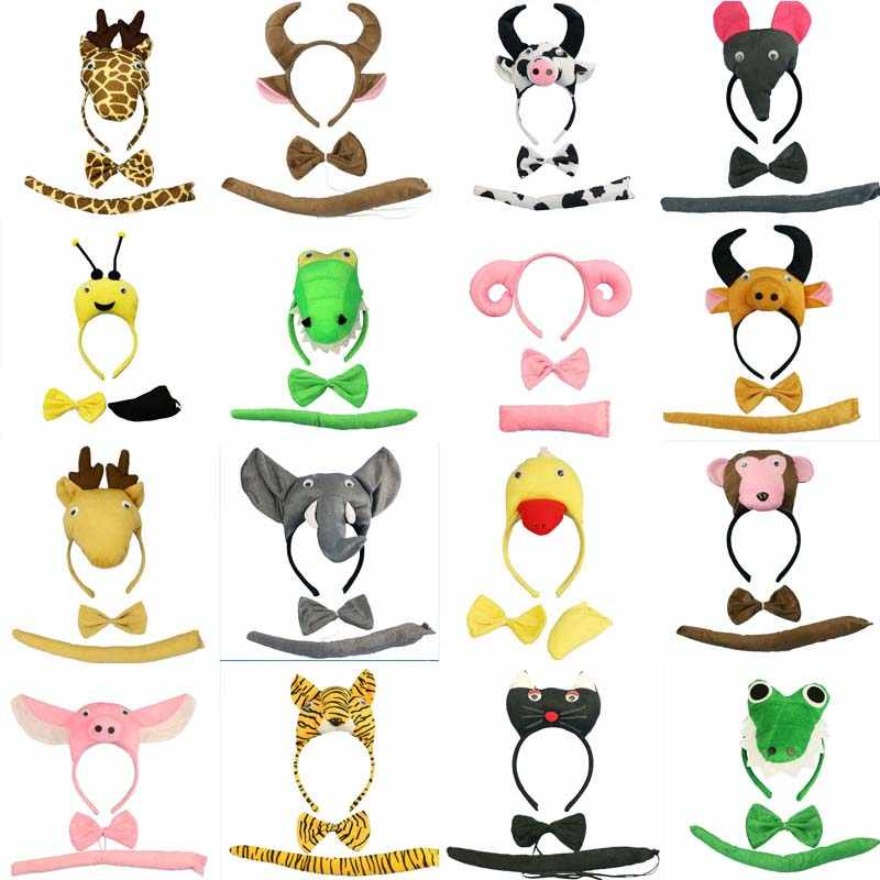Adulto niño Animal diadema Tie Tail Cosplay Set accesorios para fiestas de cumpleaños disfraz de Halloween para niños Baby Shower accesorios para el cabello