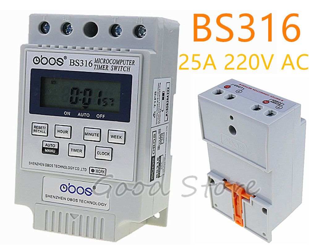 Free shipping BS316 AC 220V 25A Din Rail LCD Digital Programmable Electronic Timer Switch Digital Timer Controller BS316 kg316t ii digital timer controller ac220v 25a din rail lcd digital programmable electronic timer switch
