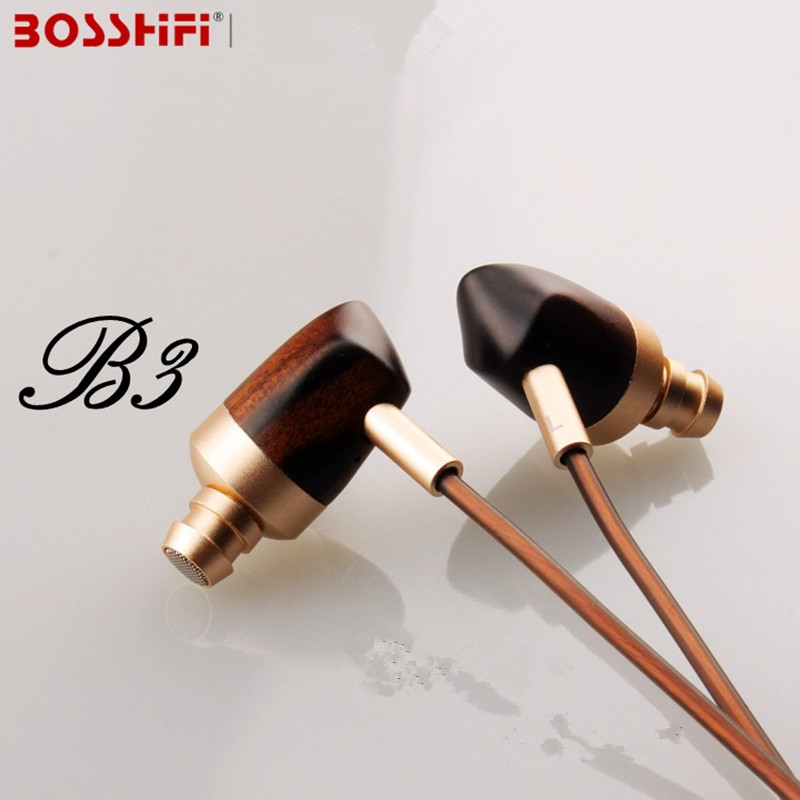 ФОТО Original BOSSHIFI B3 Hifi Headphones Dynamic and Armature 2 unit Wood Earbuds Moving Iron&Coil In Ear Earphone Wooden Headset