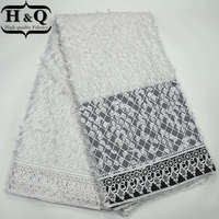High Quality African Cord Lace Fabric Pure White African Guipure Lace Fabric Embroidered Water Soluble Lace Fabric For Dress