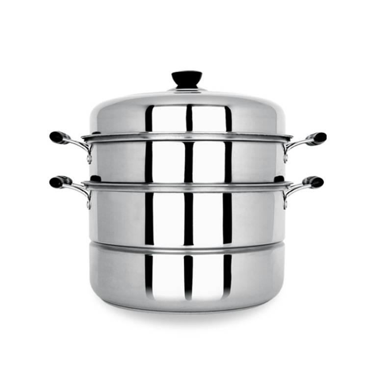 2017 Hot Sale Direct Selling Metal Steamer Pot 2 Layers Thick Stainless Steel Steamer 28cm Double Boiler Pot Cooker Universal