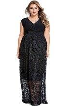 Echoine Plus Size Vestido Renda XL-4XL Women Long Maxi Dress Sexy Black Sleeveless V Neck Floral Casual Lace