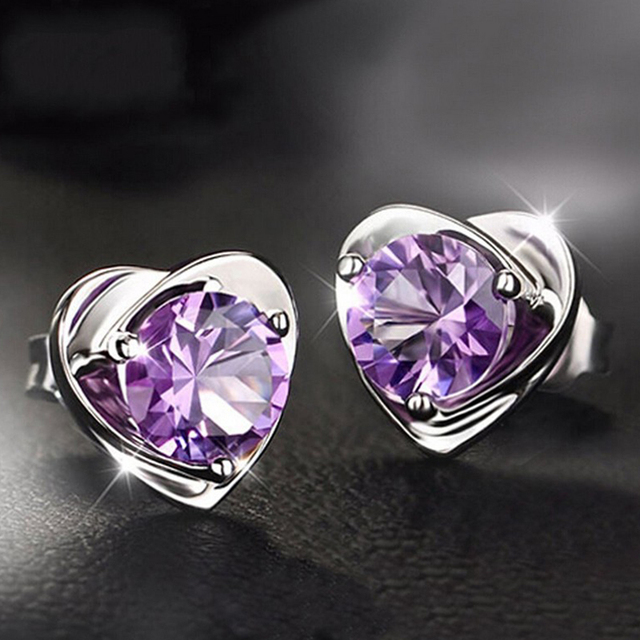 925 Sterling Silver Stud Earrings for Women Real Jewelry Heart Shape Natural Purple Amethyst Crystal Wedding Valentines day Gift
