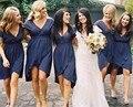 2016 A Line Deep V Neck Short Sleeves Vestido De Festa Knee Length Chiffon Plus Size Navy Blue Bridesmaid Dresses