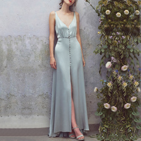 2018 Women Sexy V neck Strapless Sleeveless Pleated Maxi Summer Dress Elegant Silk Ruffles Long Party Dresses With Buttons