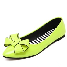 Pointed patent leather Bow tie Shoes New Fashion Spring Autumn Women Shoes Girl And Woman Bold Root Lady Low heel CX070