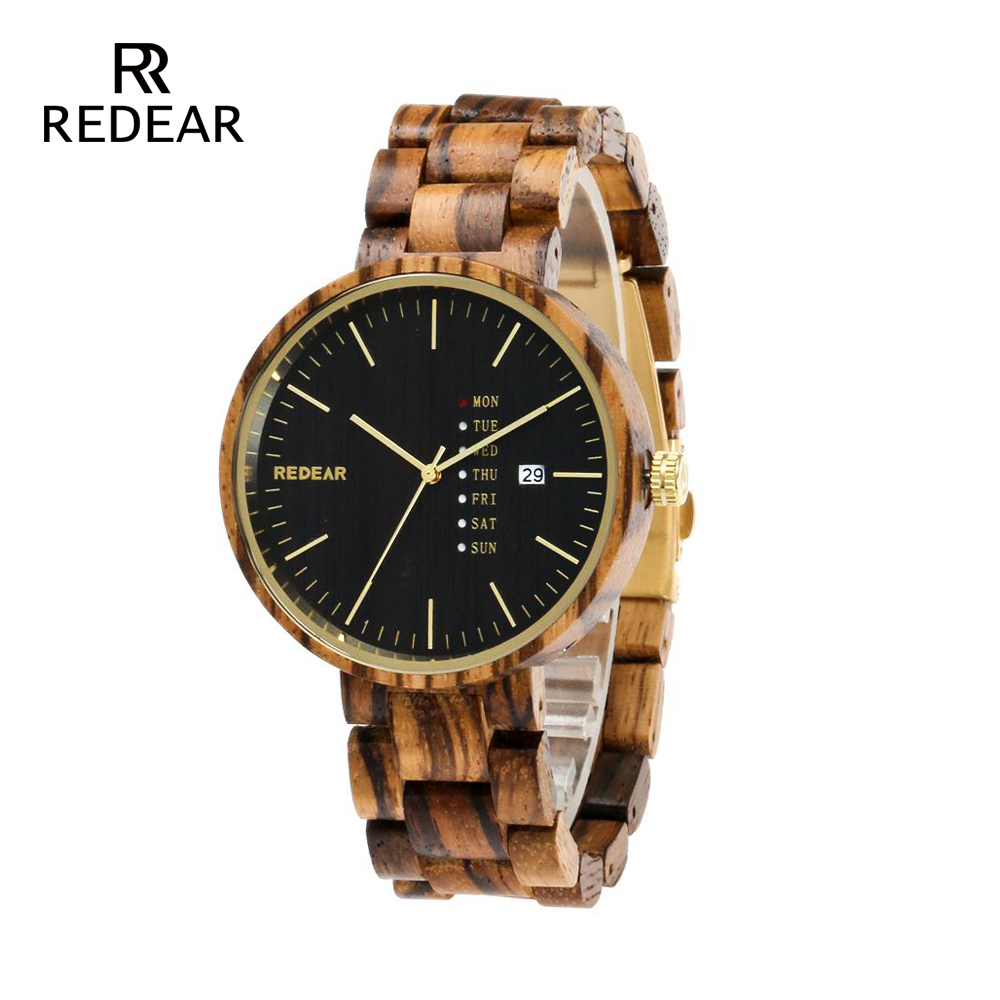 REDEAR 2018 Newest Wood Watch for Men with Week Display And Date Quartz Wooden Watches Drop Shipping leeev newest wood watch men ebony simple display date quartz watches brand fashion role luxury wooden wristwatches drop shipping