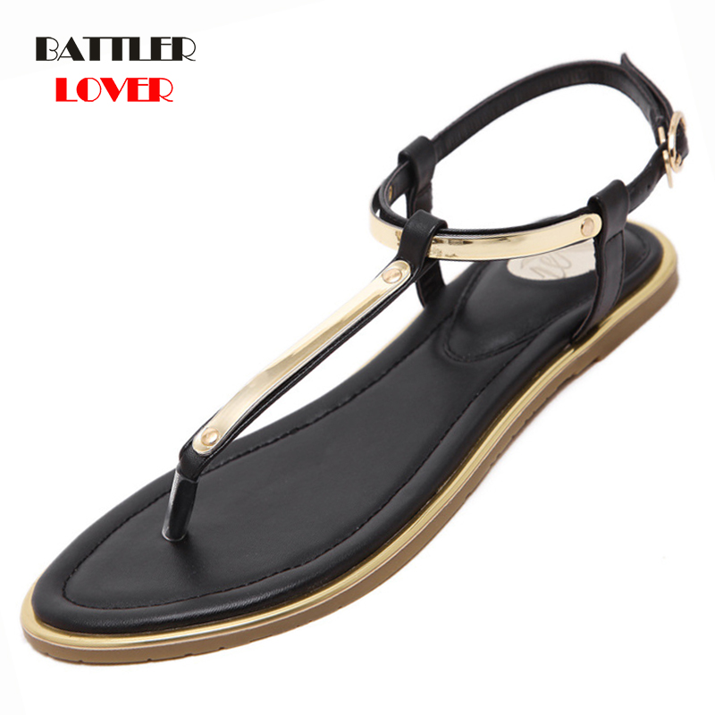 New Womens T Strap Flat Ankle Buckle Thong Sandals Female Gladiator Flip Flops Summer Beach Casual Fashion Vintage Shoes Jelly