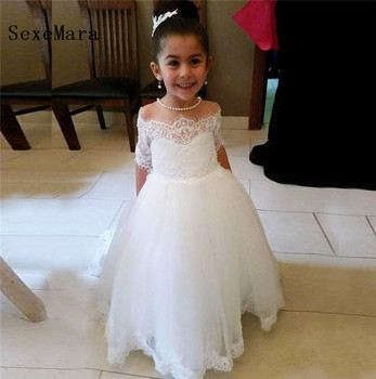 White ivory Off the shoulder flower girl dress for wedding party half sleeves lace tulle Girls Dress for Pageant Prom any size
