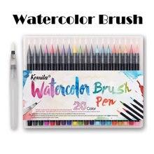 Kemila 20 renk suluboya fırçası kalem yumuşak İnce İpucu İşaretleyiciler kalemler boya fırçası kroki çizim için Manga Comic el yazısı
