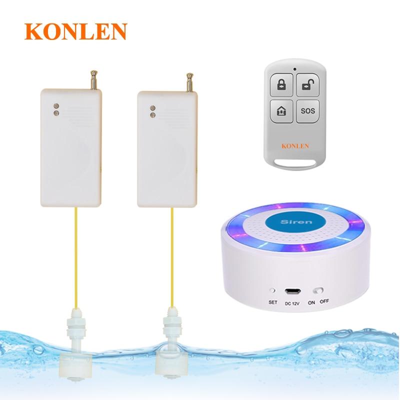 KONLEN Drahtlose Wasser Sensor Detektor Sirene Fernbedienung Bad Überlauf Leckage Erkennung Strobe Sirene Alarm System