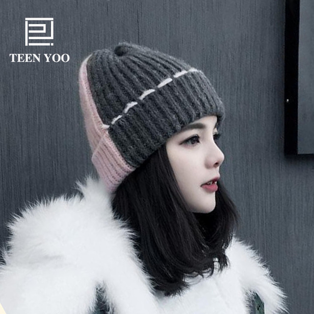 Fashion Women Knitted Hat Simple Color Patchwork Winter Autumn Warm Beanies  For Girl Top Lace Designed e5422780e5fa