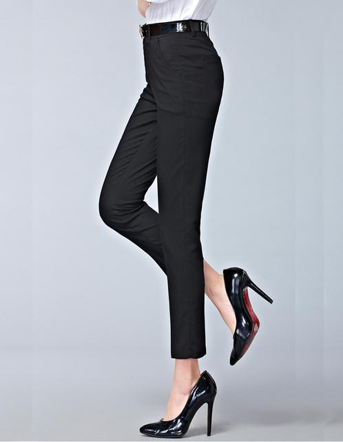 2017 Primavera nueva manera de la alta cintura lápiz pantalones para mujer estilo OL oficina ropa de trabajo pantalones pantalones skinny femenina de la vendimia