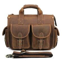 Crazy Horse Leather Briefcases Laptop Bags For Men's Double Handbag 7106B цена