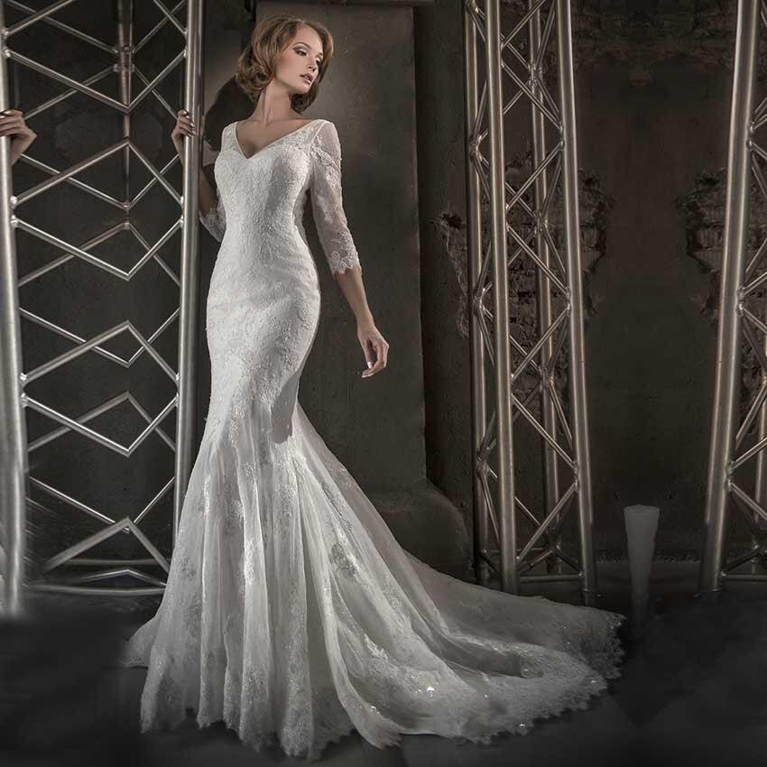 Buy vestido de noiva 2017 wedding gowns for Long sleeve mermaid wedding dresses 2017