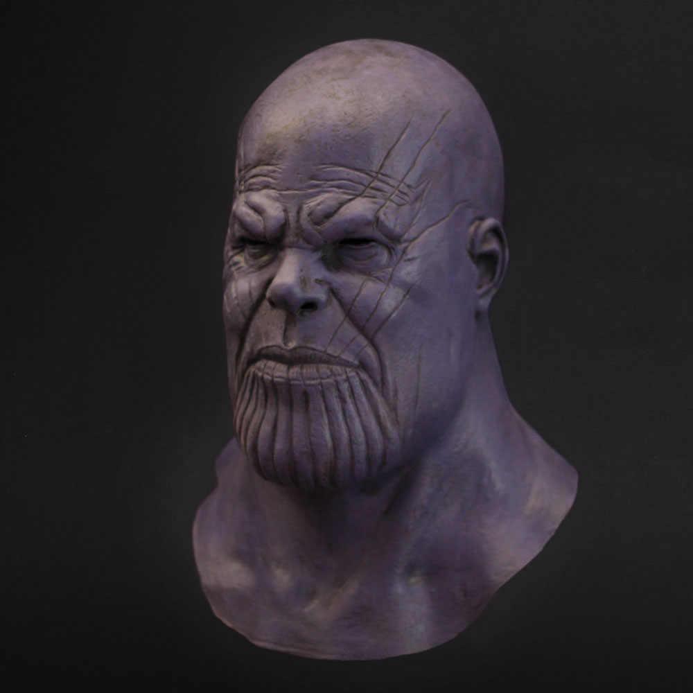Thanos Masker Cosplay Avengers Endgame Thanos Kostum Aksesori Lateks Masker Helm Full Face Halloween Carnival Party Alat Peraga