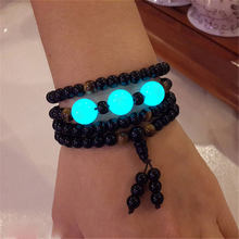 fashion obsidian bracelets with legendary luminous bead Fluorescent stone engrave english letters can shine gifts for lovers(China)