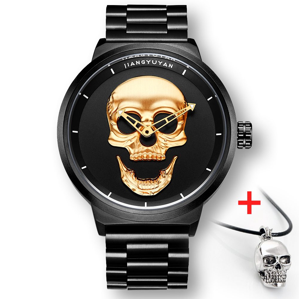 53453465  2018 Scorching Pirate Punk 3D Cranium Males Watch Model Luxurious Metal Quartz Male Watches Retro Trend Gold Black Clock Relogio Masculino HTB1xQurf98YBeNkSnb4q6yevFXaq