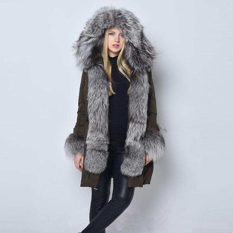 100% Echt Fox Pelzkragen Winter Jacke Frauen 2018 Top Mode Europäischen Frauen Parka Casual Outwear Militär Kapuzenmantel Gq1687
