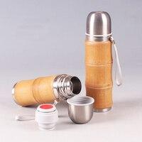 Bambus Izolowane termosy butelki ciepłej wody Ze Stali Nierdzewnej kawy i herbaty garnek termiczna Przenośne Utrzymać ciepłą wodą butelki naturalne
