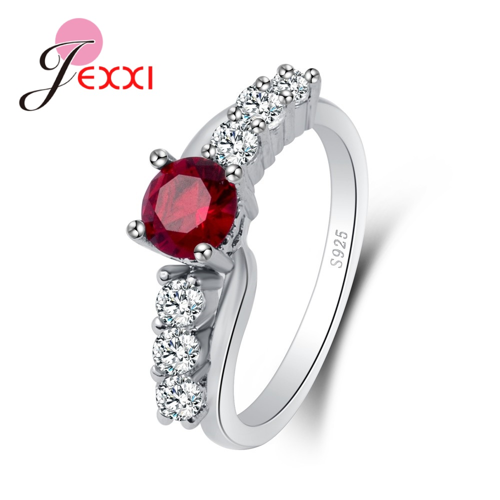 Red Round Cubic Zirconia 100% 925 Sterling Silver Rings Simple Elegant Wedding Fashion Design Brand Top Quality Jewelry