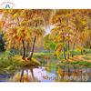 Diy Painting Calligraphy Oil Pictures By Numbers Trees River Wall Canvas Brush Drawing By Number Acrylic