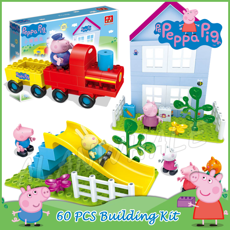 60pcs Grandpa Train Friend House Slide Playground Peppa Pig Model Building Action Figure Assemble Toy Compatible With lego Duplo наборы для творчества djeco набор для творчества четыре сезона