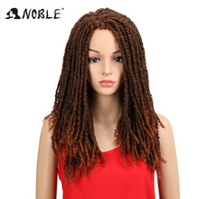 Noble 22 tommers mykt syntetiske parykker For Black Women Heklet Braids Twist Jumbo Dread Faux Locs Frisyre Lang Afro Brown Hair
