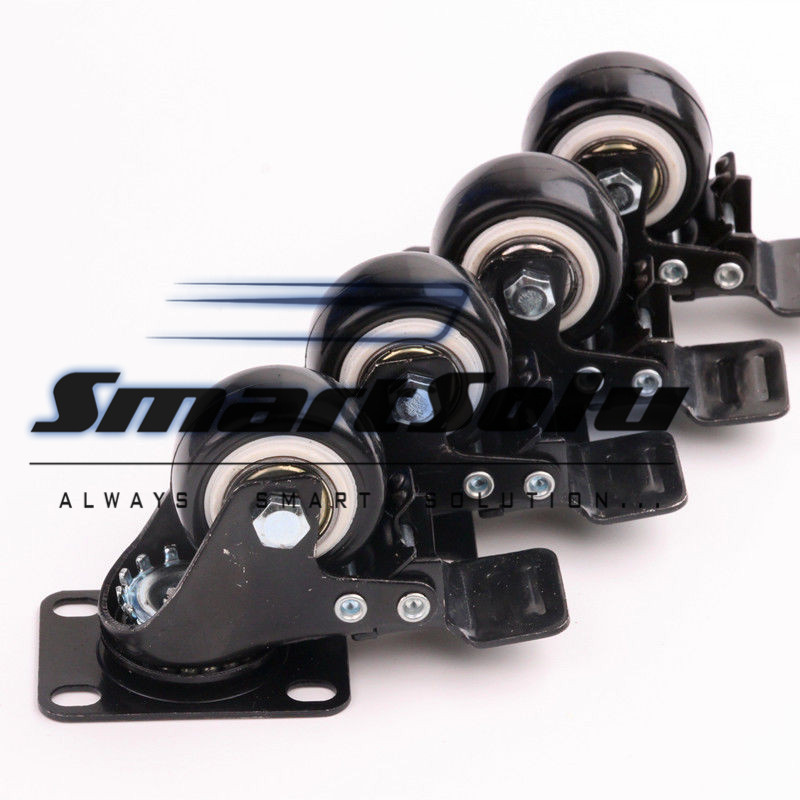 Free shipping 4PCS/Set 50kg Black Rubber 43mm*60mm Replacement Swivel Casters Office Chair Wheels Rigid Caster Trolley Furniture screw rod 2 inches plastic casters 50mm thread swivel wheels black